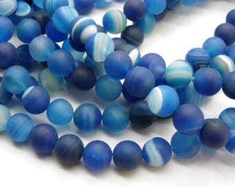 48 8 mm frosted blue agate