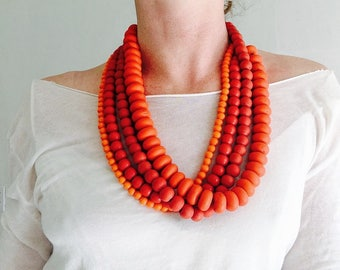 Quartet of Beautiful Red & Orange Glass Trade Bead Necklaces . Nepalese/Tibetan. Tribal. Beautiful!!