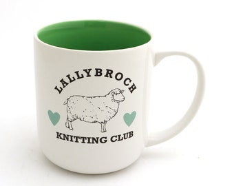Outlander - Lallybroch knitting club mug, Claire Fraser scarf, knitting mug, sheep, wool, gift for reader and maker