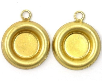 Rolled Edge Raw Brass Stampings - 7mm Round Setting - 1 Loop (8) FI154