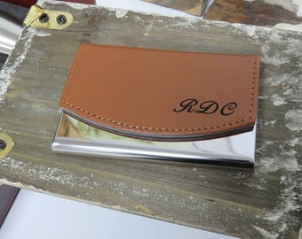 Business Card Holder -Custom Engraved Personalized Brown Genuine Leather Business Card Holder - Choose your own Font - Up to 2 Lines of Text
