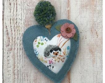 Spring Hedgehog Heart Decoration