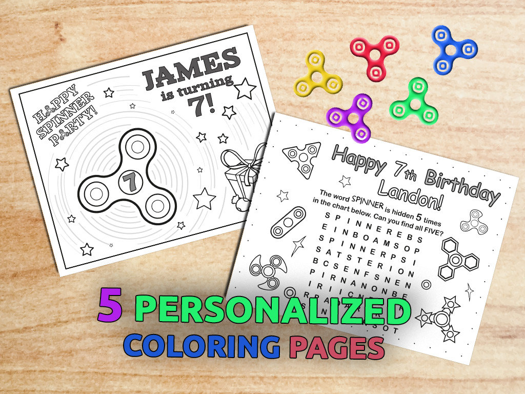Fidget Spinner Birthday Party Coloring pages / Hand spinner