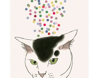 "Cat art -   Cat and confetti 4"" X 6"" print - 4 for 3 Sale"