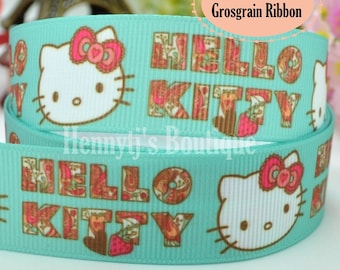"4 yards: Hello Kitty Pink Bow Character Cartoon Logo Brand Inspired AQUA Green Grosgrain Ribbon 7/8"" inch wide. Gift Wrap. DIY Supplies."