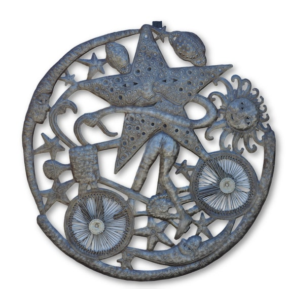 Star on Bike, Quality Handcrafted Haitian Metal, One-of-a-Kind 23.5 x 23.5