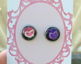 Alice in Wonderland - pansy earrings