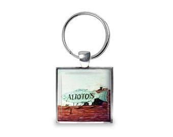 Alioto's in San Francisco - Glass Photo Keychain - Handmade