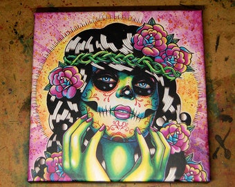 8x8 in Square Stretched Canvas Print - Somewhere in the Between - Tattoo Flash Day of the Dead Sugar Skull Girl Lowbrow Home Decor