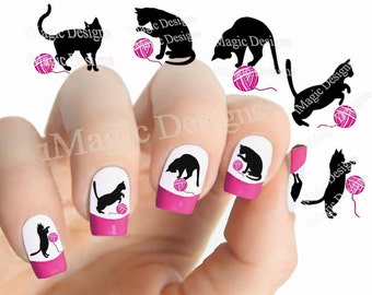Nail Stickers Tattoos, Water Slide Nail Decals, Playful Cat