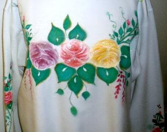 Floral hand painted crew neck sweatshirt, hand painted rose designs on sweatshirt, plus size white crew neck sweatshirt with painted roses