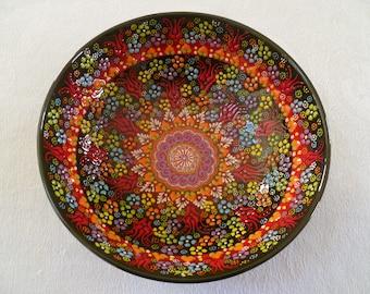 """Black Ceramic  Bowl, 10"""" Bowl, Turkish ceramic, Serving Bowl, black and red bowl, fruit bowl, display bowl, wedding gift"""