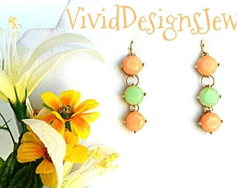 Coral Earrings - Coral and Mint Drop Statement Earrings - Peach Earrings