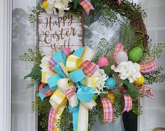 Easter Wreath, Spring Wreath, Happy Easter Y'all Wreath, Wreath, Easter Egg Wreath, Easter Wreath for Door, Wreath for Door