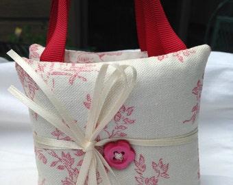 Toile Print Fabric, Set of 3 Lavender Sachet Pillows, Domestic Shipping Free