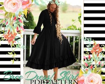 LALA Bree Dress Shirt Peplum PDF Pattern Digital Modest PRINTED