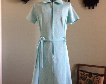 Vintage 70s Turquoise Knit Dress