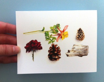 Watercolor Card - Flowers and Pinecones