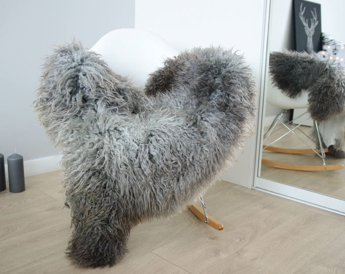 Genuine Rare Gotland Sheepskin Rug - Curly Fur Rug - Natural Sheepskin - Gray  Sheepskin #FEBGOT9