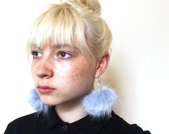 Faux Fur Pom Pom Earrings