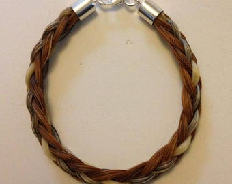 Horse hair bracelet with Sterling silver fittings **plus free keyring