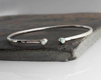 Cuff Bracelet, Sterling Silver Double Stone Bracelet, Opal Stone, Bridesmaid cuff Bracelet, Statement Cuff, Custom Bracelet, Gift Bracelet