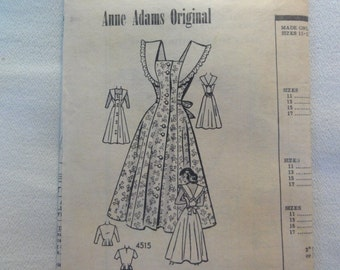 1940s Sundress or Jumper Dress w/ Ruffle Collar & Blouse- UNUSED Vintage Anne Adams Original Mail Order Sewing Pattern 4515- Size 11 Bust 29