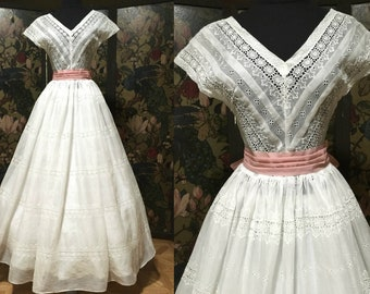 Late 1940's-early 50's White Eyelet Organza Gown with Full Skirt, Pink Sash, Hat and Organza Gloves - Wedding, Garden Party