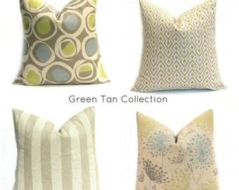 15% Off Sale GREEN PILLOW, Decorative Pillow Cover, Euro Pillow, Taupe Pillow, Tan Green Pillow, Dandelion Pillow - Ikat Pillow cover - Blue