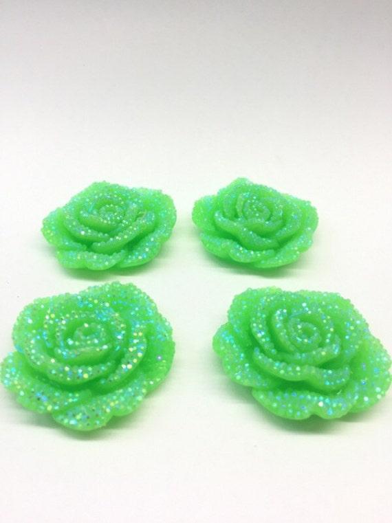 2pcs Peridot Green AB 42mm Large Flat Back Chunky Resin Rhinestone Rose Flower Embellishments C8