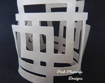 Leather Square Geo Cuff, Lightweight Statement Cuff, Wearable Art Cuff