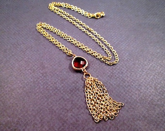 Tassel Necklace, Berry Red Glass Bezel and Gold Chain Necklace, Pendant Necklace, FREE Shipping U.S.