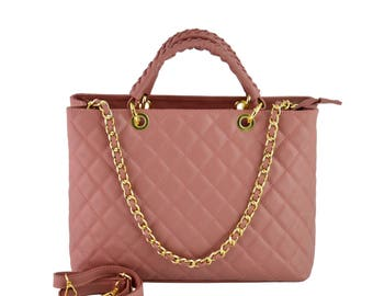 Genuine Quilted Leather Handbag