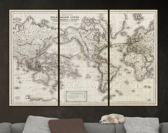 World Map Telegraph Lines, Canvas Decor Vintage Map Canvas Wall Art, Large Wall Art, World Map Wall  Art, JH Colton Map