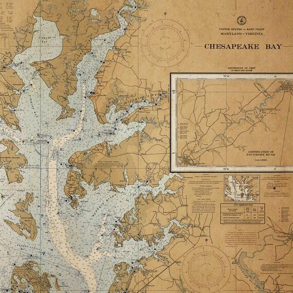 Old Chesapeake Bay Map Large Framed Art Vintage Map