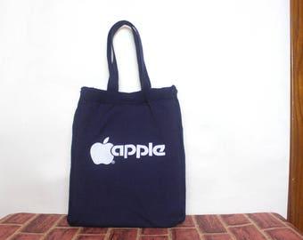 apples & geeks, vintage 1980s MACintosh, MAC, APPLE Personal Computer tote bag - navy blue + white