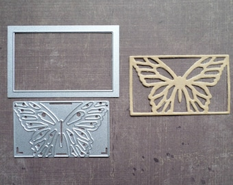 Die cut Sizzix Rectangle pet Butterfly background Stencil