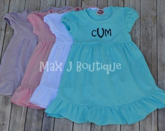 Monogrammed Ruffle Purple Short Sleeve Ruffle Dress -  Personalized summer dress - Beach Dress