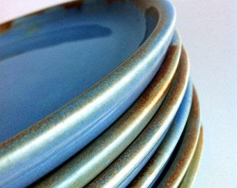 Wheel Thrown Handmade 6 Stoneware Plates  MADE TO ORDER
