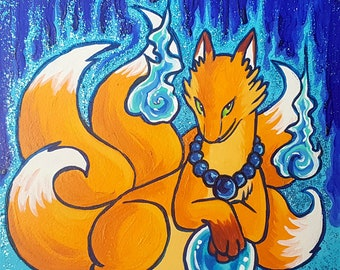 Five-Tailed Kitsune | Original Fantasy Art | Kitsune Art | Fox Art | Mythical Art | 6x6