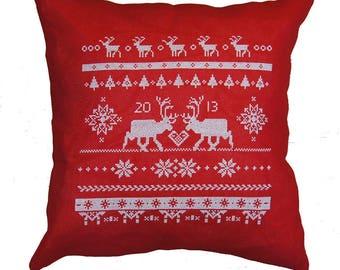 Cross stitch kit REINDEER scandinavian christmas,christmas pillow,christmas,needlepoint,swedish,pillow,diy,red,anette eriksson