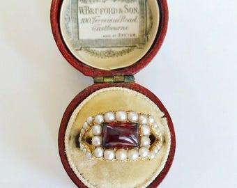 Georgian Garnet and Pearl Ring