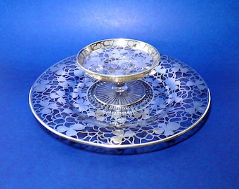Clear Crystal Serving Tray Set with Sterling Silver Overlay - Clover Pattern