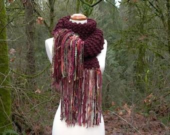 sonoma. handknit chunky scarf . art yarn fringe scarf . warm winter wool knit scarf shawl wrap . burgundy port wine claret garnet maroon