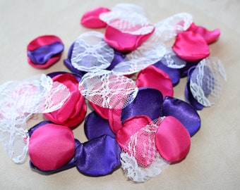 Shocking Pink, Purple, and White Lace Flower Petals * Wedding Decor * Baby Shower * Birthday Party * Table Decor