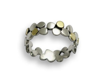 Polka dots band, Sterling silver ring, dotted ring, silver gold band, simple band, thin silver band, two toned band - Yet to discover R1175G