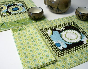 Green Placemats Napkins AlFresco Brown Blue Quilted Set of 2 Quiltsy Handmade FREE U.S. Shipping