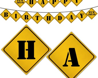Construction Road Sign Birthday Banner, Birthday Buntings, DIY, Print your own, Instant Download