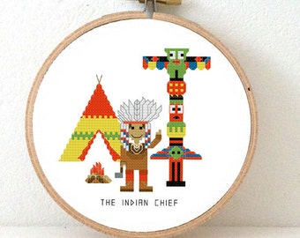 Chief Indian cross stitch pattern. American Indian gift. DIY children room decor.