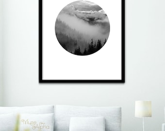 Black and White Nature Print, BW Nature Landscape Print, Mountain Landscape Print, BW Printable, Black & White Photography Printable Art
